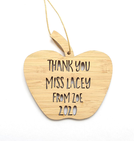 Apple Thank you Teacher Personalised Christmas Ornament